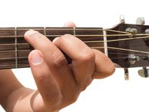 Left hand gesture `chord C` guitar chord finger position in close up isolated on white background. A male Left hand gesture `chord C` guitar chord finger Stock Images