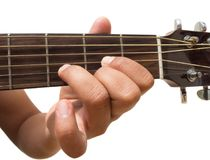 Left hand gesture `chord D` guitar chord finger position in close up isolated on white background. stock photography