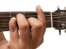 Left hand gesture `chord F` guitar chord finger position in close up isolated on white background. A male Left hand gesture `chord F` guitar chord finger Royalty Free Stock Photography