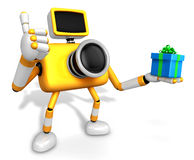 The left hand a gift box in Yellow camera Character, Taking the Royalty Free Stock Image