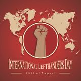 Left hand grip icon. In the form of a cartoon in the international lefthanders day framework with a green background world map vector illustration