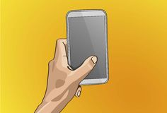 Left Hand Handle Mobile. Vector illustration - Beautiful Left hands Handle on a smart phone in outline version Royalty Free Stock Image