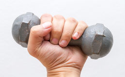 Left hand hold small dumbbell. Royalty Free Stock Photo