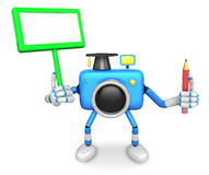 The left hand Holding the board Doctor Blue Camera Character. Th Royalty Free Stock Photo