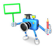 The left hand Holding the board Doctor Blue Camera Character. Th Royalty Free Stock Images