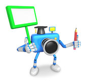 The left hand Holding the board Doctor Blue Camera Character. Th Stock Images