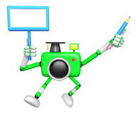 The left hand Holding the board Doctor Green Camera Character. T Royalty Free Stock Image