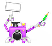 The left hand Holding the board Doctor Purple Camera Character. Royalty Free Stock Photos