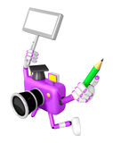 The left hand Holding the board Doctor Purple Camera Character. Royalty Free Stock Image