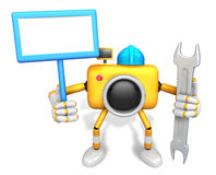 The left hand Holding the board Engineer Yellow Camera Character Stock Images