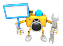 The left hand Holding the board Engineer Yellow Camera Character Royalty Free Stock Images