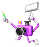 The left hand Holding the board Teacher Purple Camera Character. Royalty Free Stock Photos