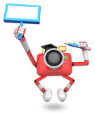 The left hand Holding the board Teacher Red Camera Character. Th Royalty Free Stock Photo