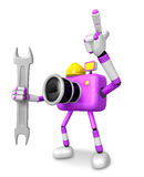 The left hand Holding a Spanner Engineer Purple Camera Character Royalty Free Stock Images
