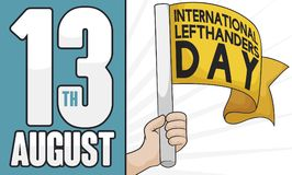 Left Hand with Flag to Celebrate International Left Handers Day, Vector Illustration. Left hand holding a yellow flag and reminder date to celebrate vector illustration