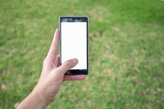 Left hand holds mobile phone in park Royalty Free Stock Images