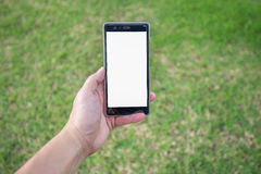 Left hand holds mobile phone in park Royalty Free Stock Photo