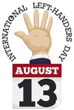 Left Hand with Loose-leaf Calendar to Celebrate Left Handers Day, Vector Illustration Royalty Free Stock Photos
