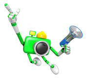 The left hand point the finger Engineer Green Camera Character. Stock Photo