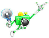 The left hand point the finger Engineer Green Camera Character. Royalty Free Stock Photos