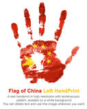 Left hand print in China flag color. The imprint of national colors on white background Royalty Free Stock Image