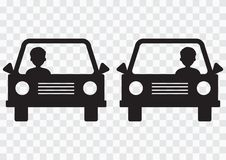 Left-hand and right-hand traffic. Cars with driver on transparent background. Vector illustration royalty free illustration