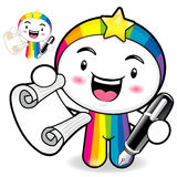 The left hand a Roll paper in Rainbow Mascot. The right hand gra Royalty Free Stock Photo