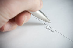 Left Hand Signing Name Stock Images