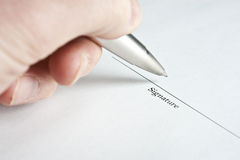 Left Hand Signing Name Stock Photo