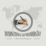 Left Hand writing `international lefthanders day`. Icon Left hand writing `international lefthanders day` with a ballpoint, which is celebrated on August 13 with stock illustration