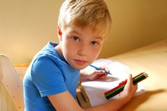 Left Handed Boy Royalty Free Stock Photography