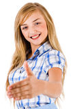 Left handed business women gives shake hand Stock Photos