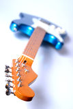 Left-Handed Guitar 1. Blue Left Handed Electric Guitar stock photo