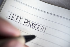 Free Left-handed Man Handwriting The Text Left Power Stock Images - 96807364