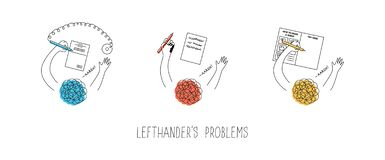 Free Left Handed People Problems. Using Pen With Chain In A Bank Attached To The Right, Smudging The Ink, Drawing In Step-by-step- Royalty Free Stock Image - 213057536
