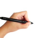 Left-handed person writing. On white background Royalty Free Stock Images