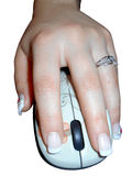 Left handed woman holding a mouse, Isolated. Isolated close up view of a left handed woman holding a computer mouse. Picture taken on November 24, 2014 stock photos