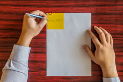 Left handed writing Stock Photo