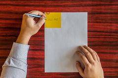 Left handed writing Stock Photography