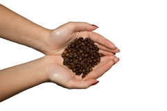 Left Handful of Coffee Stock Photo