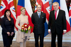 Ivana Zemanova, Countess Sophie, Prince Edward and president Milos Zeman. From left Ivana Zemanova, Countess Sophie, Prince Edward and Czech president Milos royalty free stock photo