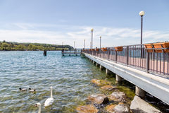 Left jetty's view of the Bracciano lake Royalty Free Stock Photo