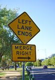 Left Lane Ends Merge Right Sign stock images