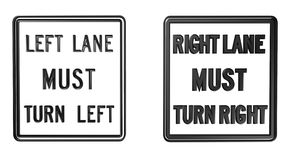 LEFT LANE MUST TURN LEFT Royalty Free Stock Photo