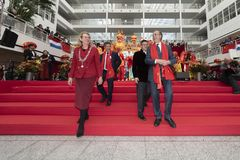 Chinese New Year 2019 celebration. From left, Ms. Pauline Krikke, Mayor of the City of The Hague, Mr. Lin Yun Piao, Chairman of the Wenchen Association, Mr. Chen stock photo