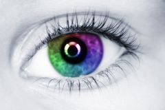 Left multicolored eye of child close up Stock Photography
