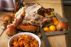 Left over Thanksgiving Day holiday turkey carcass. Left over Thanksgiving holiday turkey and fixings royalty free stock image