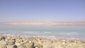 Pan from the shore of the Dead Sea. Left pan from the shore of the Dead Sea stock footage