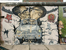 Left part of the berlin wall east side gallery royalty free stock photography