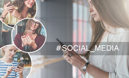 In left part of image there are round icons with image of girls with smartphones. Stock Photo